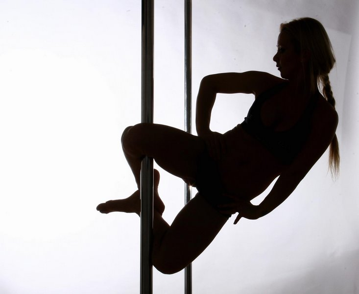 Pole Dancer Knee Hold Silhouette
